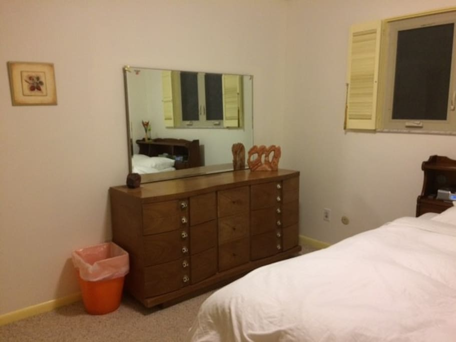 Inner bedroom with a full size bed (comfortable for two) and large empty dresser