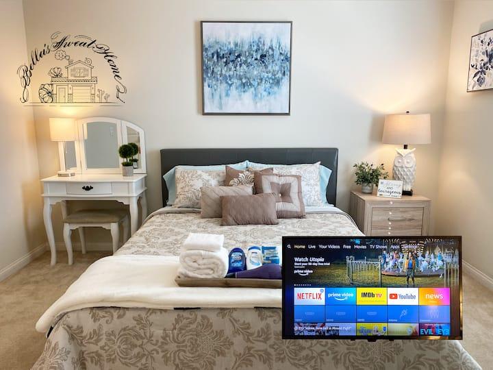 Cozy,Private bathroom& bedroom, Smart TV,30days+
