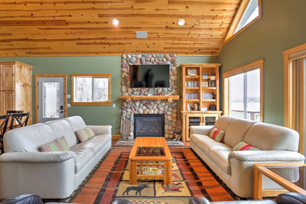 The home features 22-foot vaulted knotty pine ceilings.