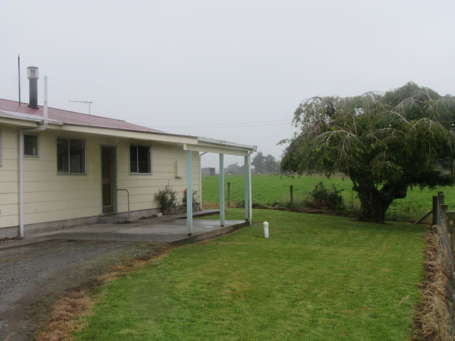 View from the road side, plenty of space in the fenced yard and a great tree to climb