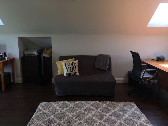 Sitting area with sofa bed