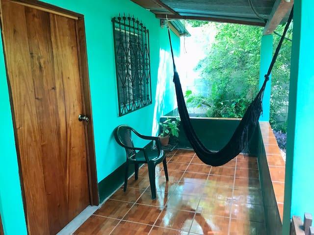 Room at El Remate, 1 block from the lake, hammock