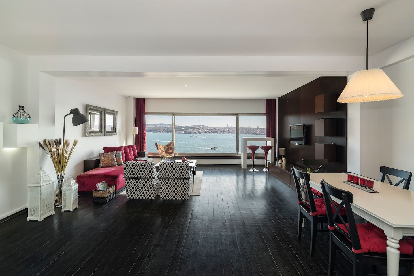 Living Room with gorgeous views of the Bosphorus!