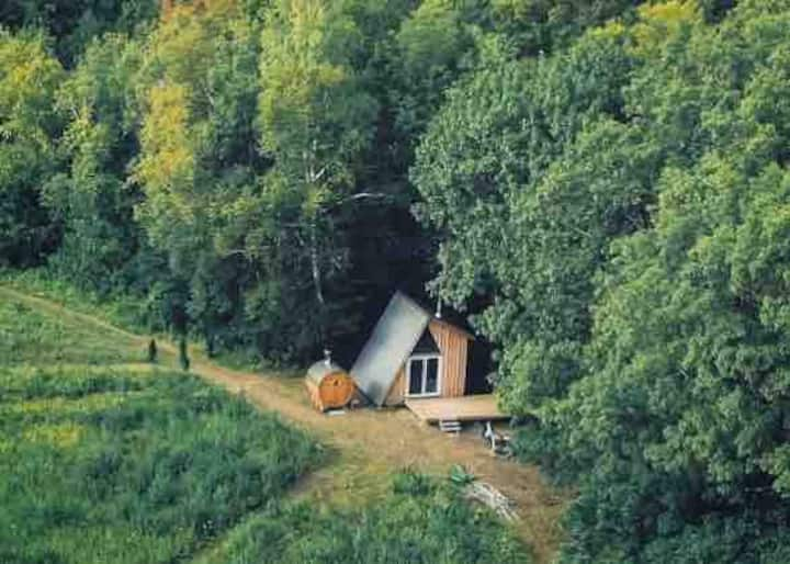 Off-Grid Ravine Cabin w/ Woodstove Barrel Sauna