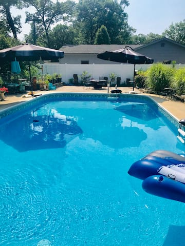 The Pool is closed for the season. Do come and enjoy other areas in the garden such as gas fire pit. Heated gazebo. And much more.