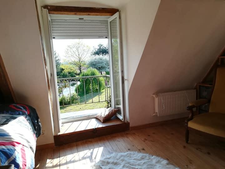 Chambre avec balcon dans Longère de charme