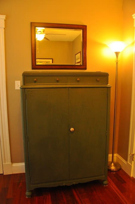 Antique armoire in Guest Bedroom.