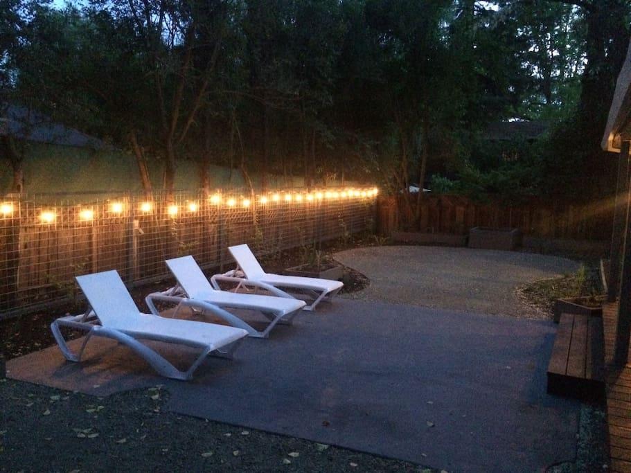 Cutely landscaped back yard at night
