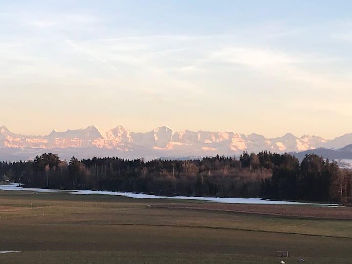 Stilvolle Ferienwohnung mit Alpensicht