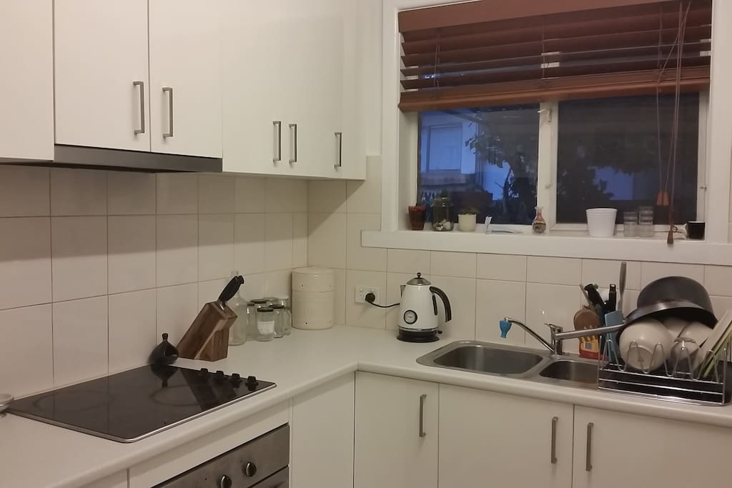 Our kitchen has all utensils and a coffee machine. Fridge and microwave also.