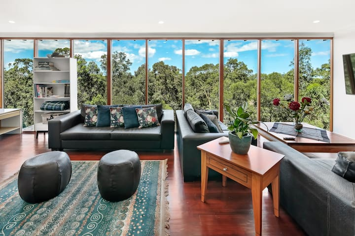 Oversized living with picturesque bushland views