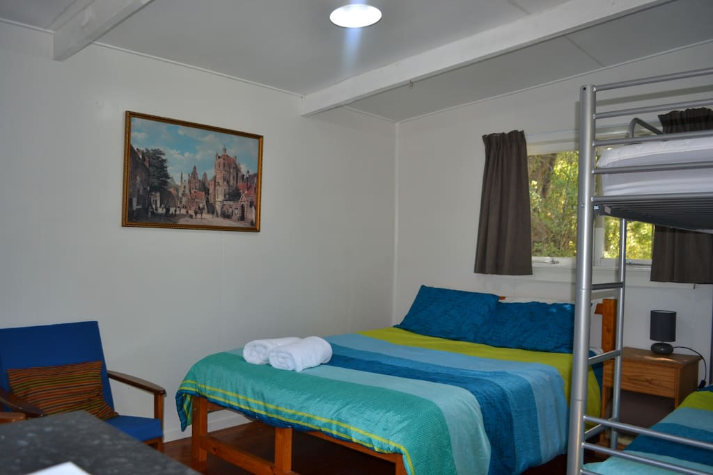 Double bed in one of the cabins (Sleeps 4)
