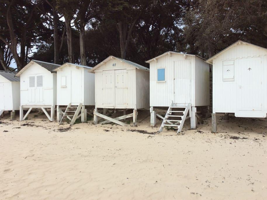 Les cabines de plage, sur la plage des dames