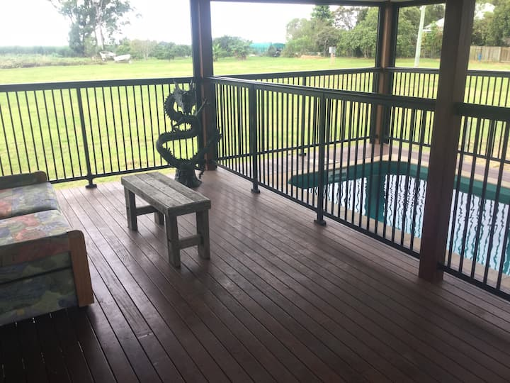 Dragons Lair, modern comfort, private deck & pool.