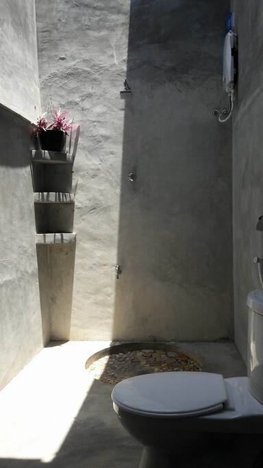 a beautiful open air bathroom