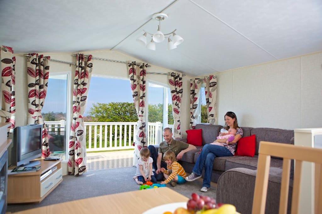 Lounge area of 2 Bedroomed caravan.