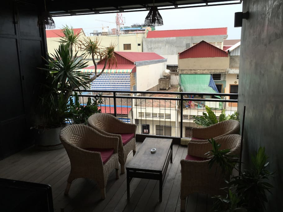 Open terrace with sofa
