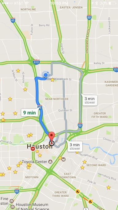 9 minutes by car from downtown Houston hotspots, and 3 blocks from rail access to anywhere in the city