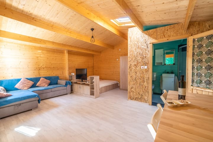 wooden house/forest,quiet/2+1/parking/grill