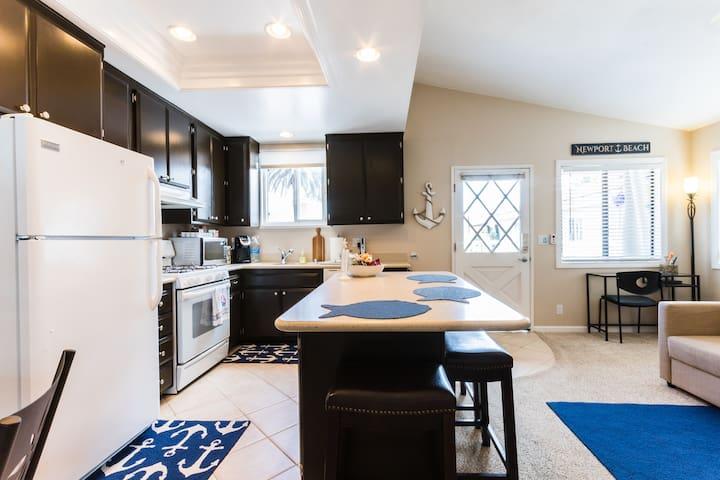 Open floor plan kitchen & living area.