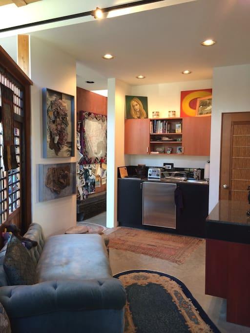 Cozy kitchen with antique Japanese doors