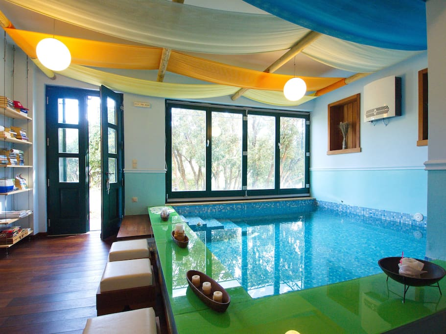 Indoor pool with air jets (heated in early & late season)