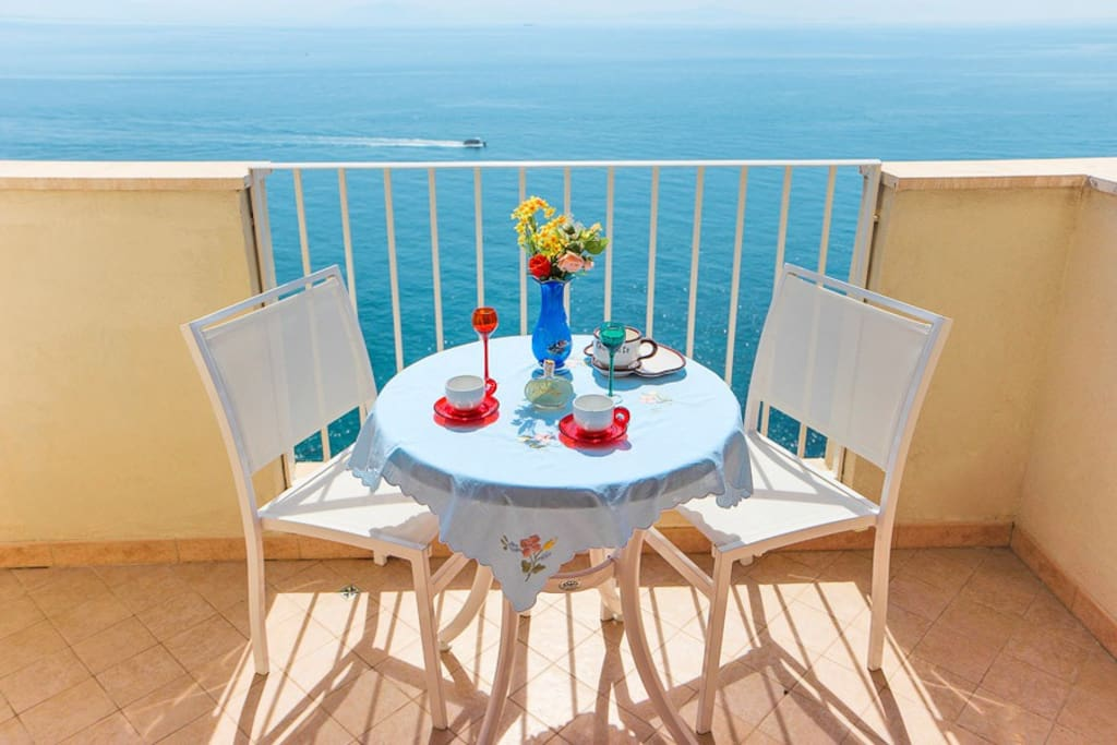 Large balcony where you can sit and eat outside
