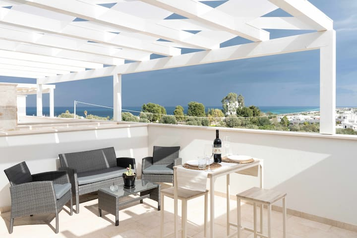 Villa Martino - Sea View Apt.,sea view terrace,A/C,Wi-Fi,400m from beaches