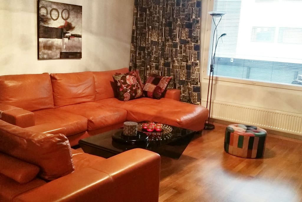 The Cosy Living Room with Italian Leather Sofas and a Stylish Table