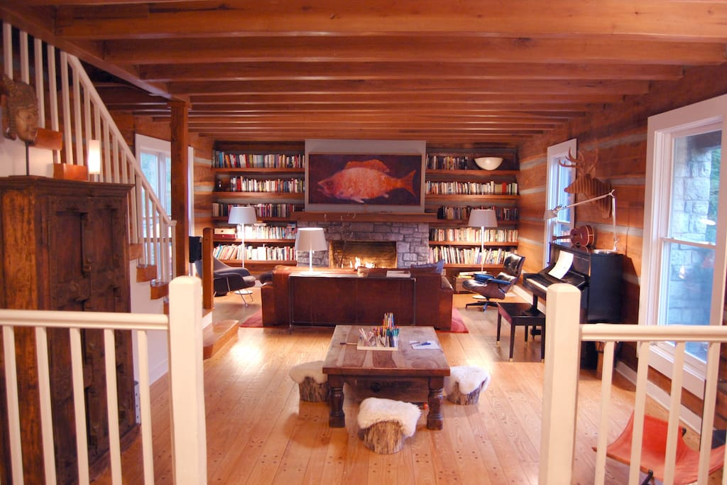 our favorite room for hanging out… reading, relaxing, playing music (Steinway piano) and games, or a little creative time at the art table (for the kids), all with the warm glow of a gas fireplace