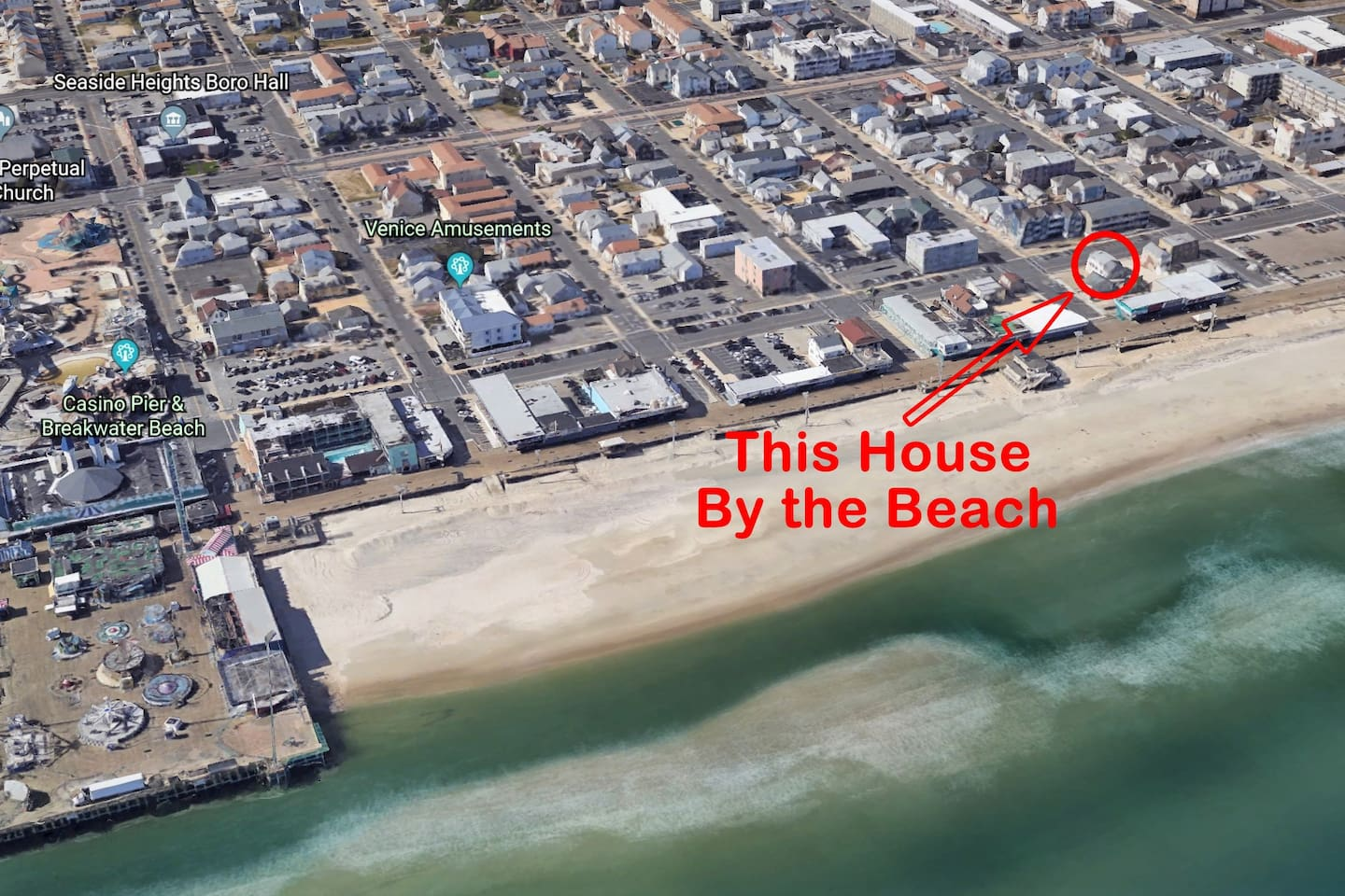 One of the closest house to the beach in Seaside Heights.  With Free Off Street Assigned Parking for 2 cars.