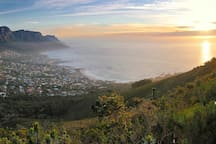 Camps Bay looking from the  surrounding nature reserve toward the Atlantic Ocean