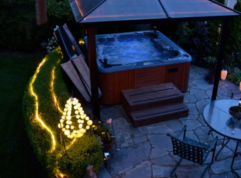 6 person jetted hot tub among the garden- registered guests only.