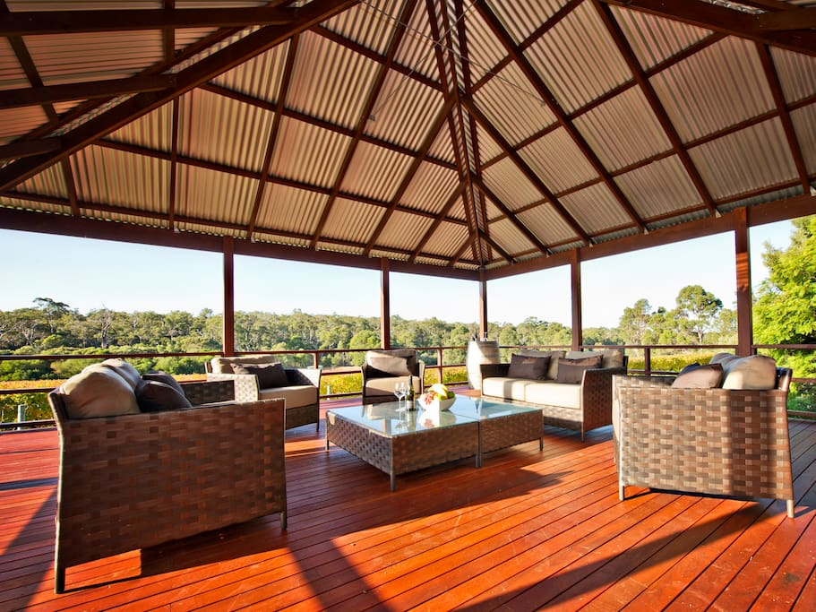 Sunny deck area from main house
