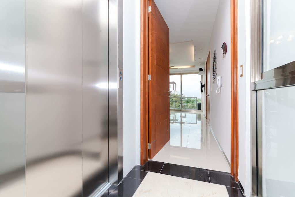 This condominium complex features a high tech elevator.