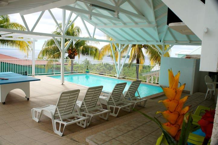 Villa, 2 ch. terrasse avec vue panora.mer, piscine - Bouillante - Villa