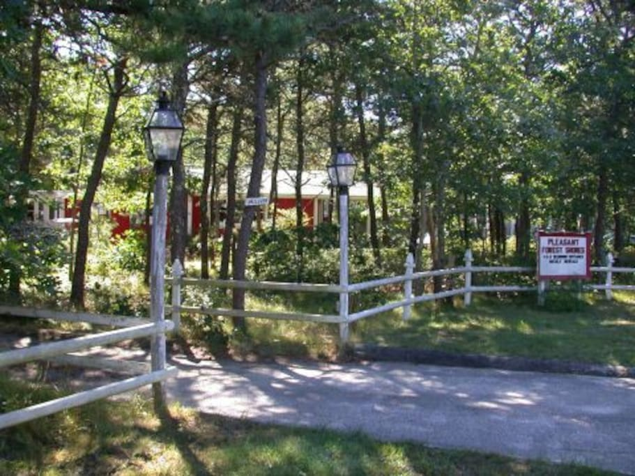 Pleasant Forest Shores main entrance - the Apartment is at left side of duplex cottage
