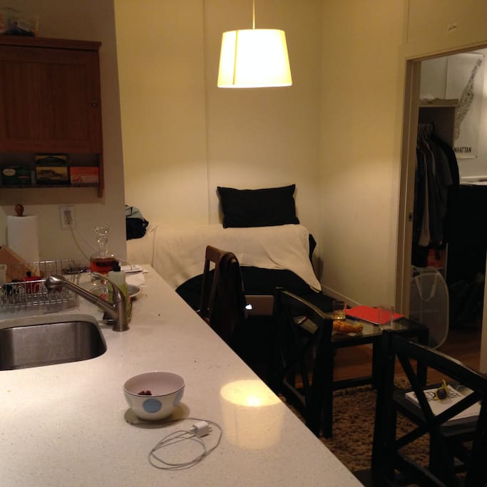 Living room and breakfast counter. Mounted T.V. is on the opposite wall.