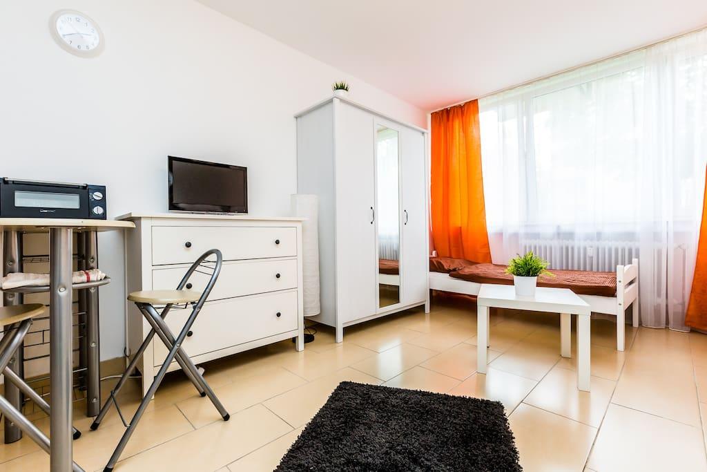 Wohnschlafraum mit TV/ living- and sleepingroom with TV