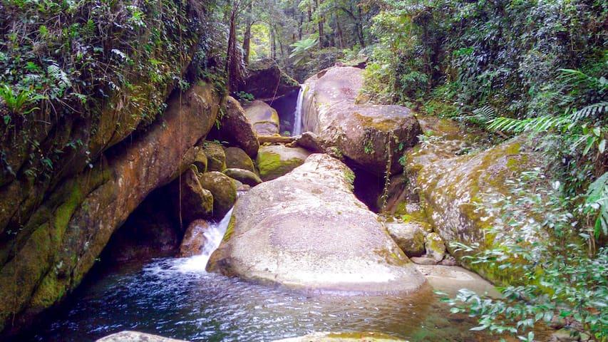 Waterfalls found upstream at the second creek, Harvey Creek.