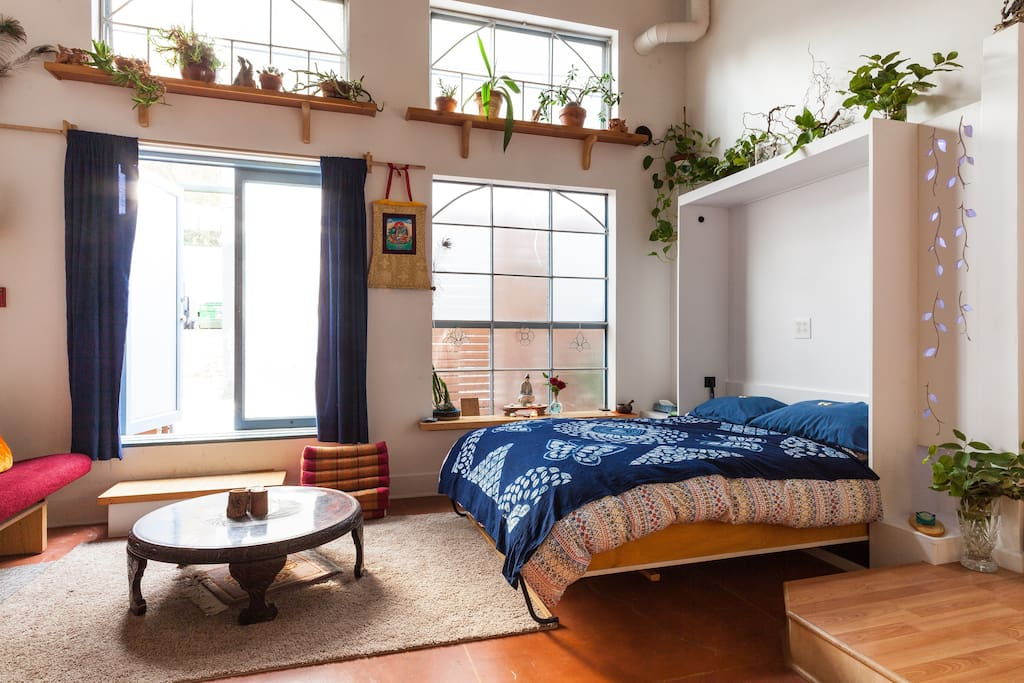 Murphy bed in the meditative yoga space