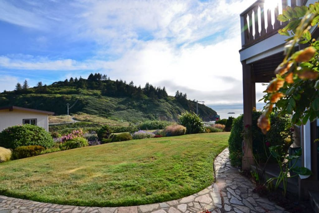 Front yard with view of ocean and Trinidad Head