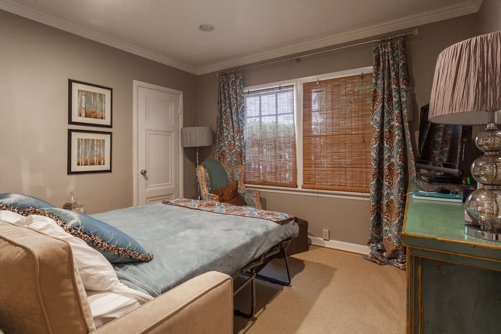 Guest bedroom with Queen size pull out couch