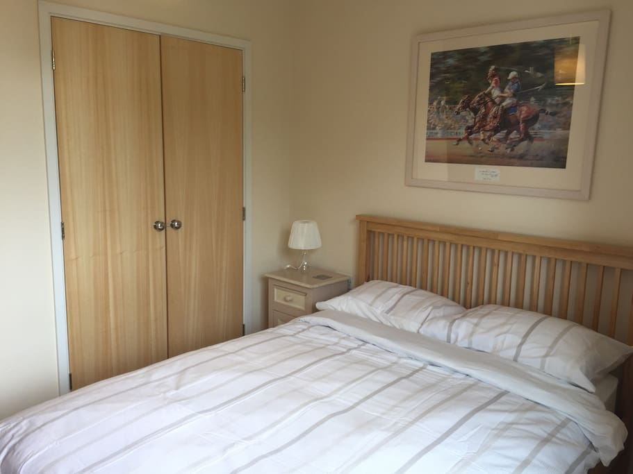 Double bed and built in wardrobe.