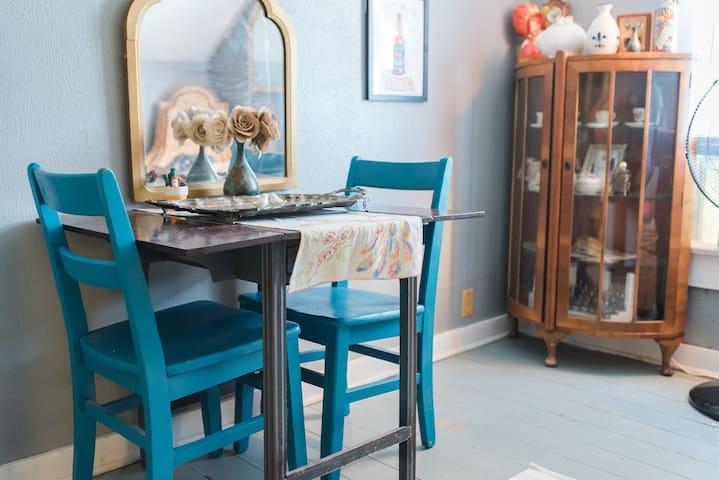Your kitchenette comes with small table and chairs.