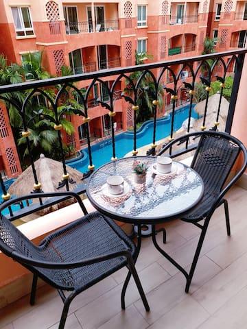 Seven Seas apartment pool view