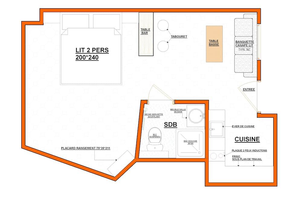 Plan appartement vu de haut 26m2
