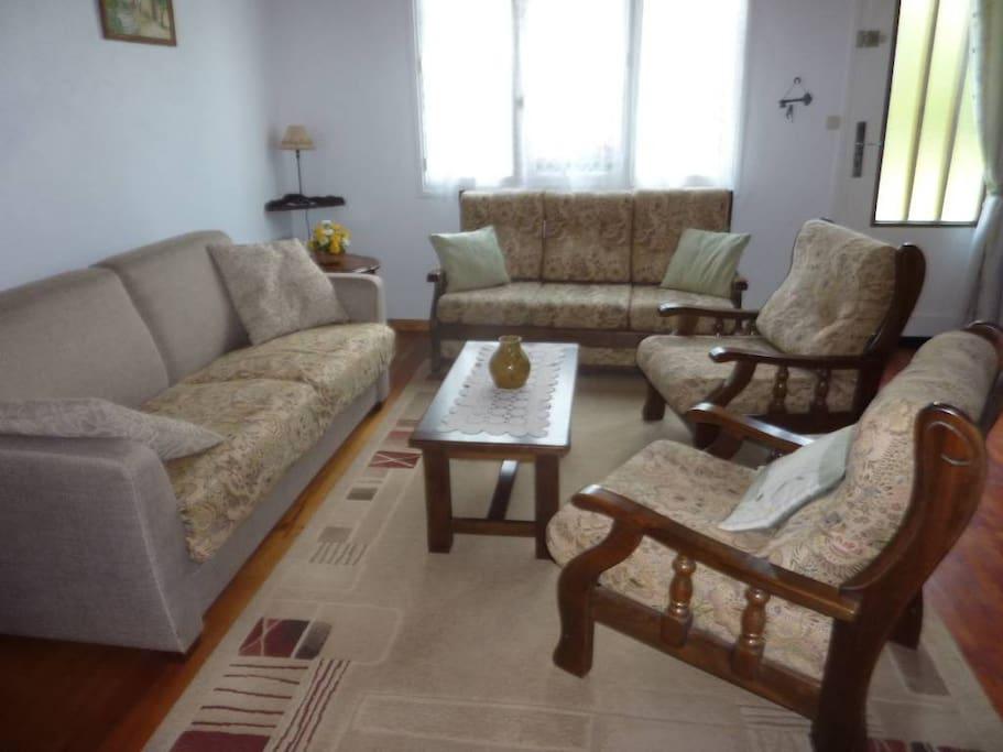 Le salon avec 2 canapés dont un convertible