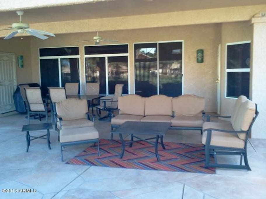 Extra large covered back patio perfect for entertaining.