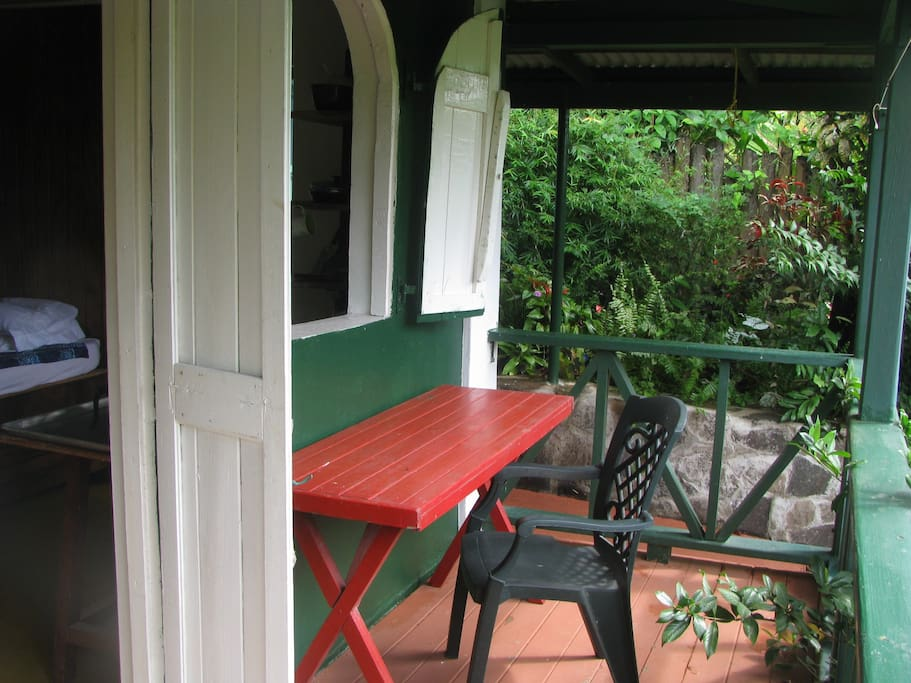 Porch doubles as outdoor cooking/dining area